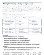 Primary/Elementary Activity: Energy in Food Worksheet