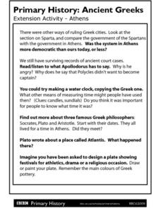 Primary History: Ancient Greeks - Athens Worksheet