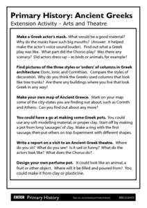 Primary History Ancient Greeks Extension Activity: Arts and Theatre Worksheet