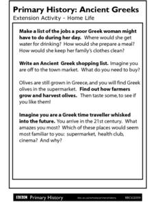 Primary History Ancient Greeks Extension Activity: Home Life Worksheet