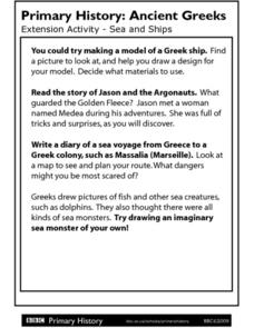 Primary History: Ancient Greeks Sea and Ships Worksheet