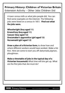 Primary History Children of Victorian Britain Extension Activity - Other Jobs Children Did Worksheet