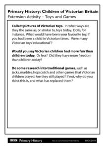 Primary History: Children of Victorian Britain - Toys and Games Worksheet