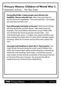Primary History: Children of World War 2 Extension Activity- The War Ends Worksheet
