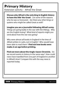 Primary History Primary History Extension activity - Alfred the Great Worksheet