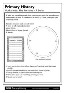 Primary History: The Romans A bulla Worksheet
