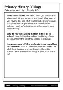 Primary History: Viking Family Life Worksheet