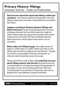 Primary History: Vikings Trade and Exploration Extension Activities Worksheet