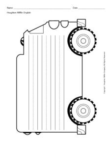 Primary Lined Paper-- Truck Shape Printables & Template