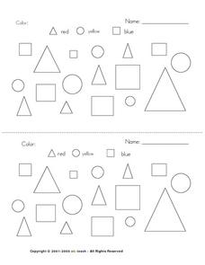 Primary Shapes and Colors Worksheet