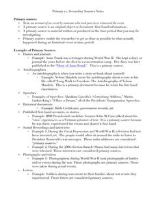 primary vs secondary sources notes 7th 12th grade worksheet lesson planet. Black Bedroom Furniture Sets. Home Design Ideas
