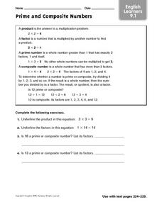Prime and Composite Numbers: English Learners Worksheet