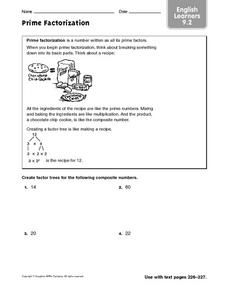 Prime Factorization - ELL 9.2 Worksheet