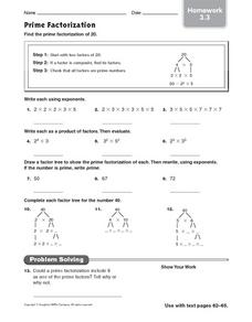 Prime Factorization - Homework 3.3 Worksheet