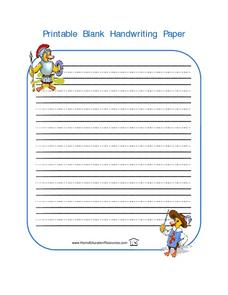 Printable Blank Handwriting Paper-- Duck Soldier Lesson Plan