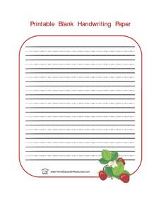 Printable Blank Handwriting Paper Lesson Plan