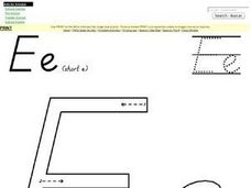 Printing Letter Ee--Short E Worksheet