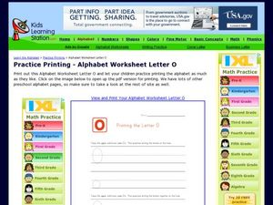 Printing Letter O Worksheet