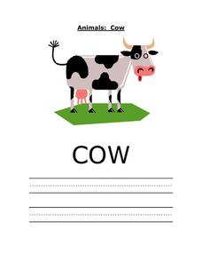 Printing Practice: Cow Worksheet