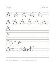 Printing Practice Letter A Worksheet