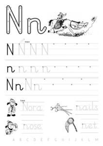 Printing Practice-- Letter Nn With Words And Sentences Worksheet