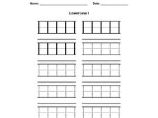 Printing Practice: Lower Case l Worksheet