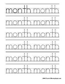 Printing Practice: Month Worksheet