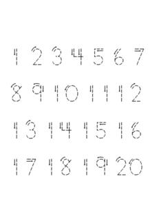 Printing Practice: Numbers 1-20 Worksheet