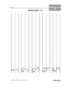 Printing Practice-- Numbers 1-5 Worksheet