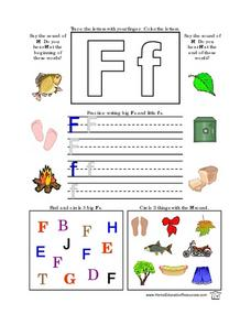 Printing Practice-- the Letter Ff Lesson Plan