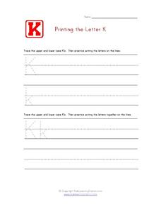 Printing the Letter K Worksheet
