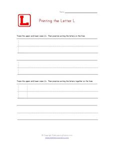 Printing the Letter L Worksheet