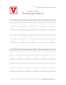 Printing the Letter V Worksheet