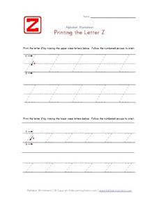 Printing the Letter Zz Worksheet