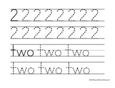 Printing the Number and Word For Two Worksheet