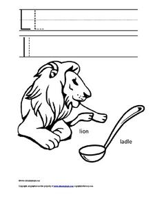 Printing Upper and Lower Case Letter Ll Worksheet