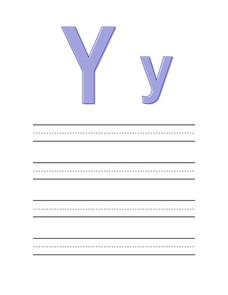 Printing Upper and Lower Case Letter Yy Worksheet