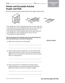 Prisms and Pyramids Painted Purple and Pink: Enrichment Worksheet