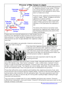 Prisoner of War Camps In Japan Worksheet
