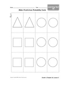 Probability  and Prediction Cards Worksheet