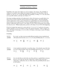 Probability and Statistics - Week 10 Lesson Plan