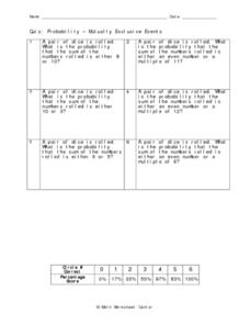 Probability - Mutually Exclusive Events Worksheet