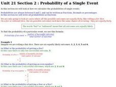 Probability of a Single Event Worksheet