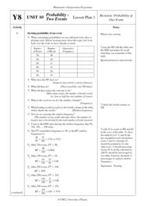 Probability Two Events Lesson Plan