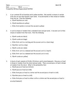 Probability Without Replacement Worksheet Worksheets For School ...