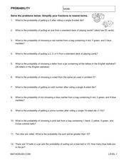 Probability Word Problems Worksheet