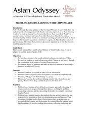Problem-Based Learning With Chinese Art Lesson Plan