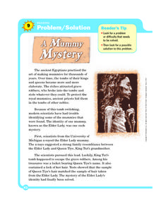 Problem/Solution: A Mummy Mystery Worksheet