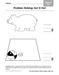 Problem Solving: Act It Out  reteach 10.6 Worksheet
