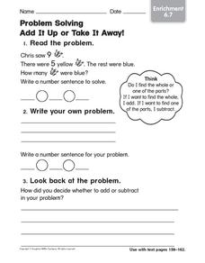 Problem Solving: Add It Up or Take It Away! Worksheet